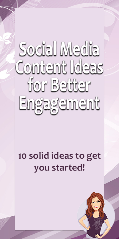 Here are 10 solid ideas to get you started writing your next social media post plan with more engaging content.  Once you add in posts for your monthly theme and your sales posts, you'll fill up your calendar in no-time!